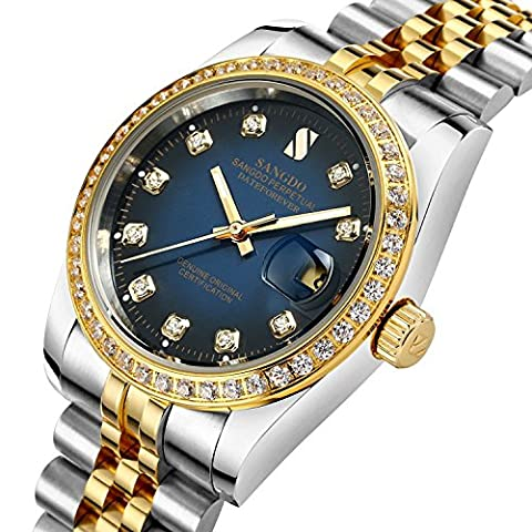 Mastop Men Diamond-Accented Bezel Blue Dial Two-Tone Band Automatic Mechanical Watch (Sangdo Automatic Watches)