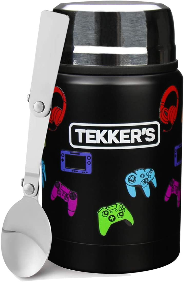 TEKKER'S Insulated Thermos Food Jar Lunch Thermos 17 Oz Stainless Steel Container Kids Vacuum Flask Folding Spoon Office Travel Camping Work School Outdoors Black Gamepads
