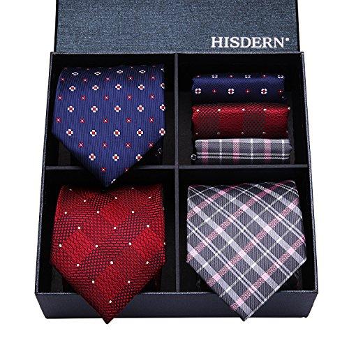 (HISDERN Lot 3 PCS Classic Men's Tie Set Necktie & Pocket Square Elegant Neck Ties Collection)