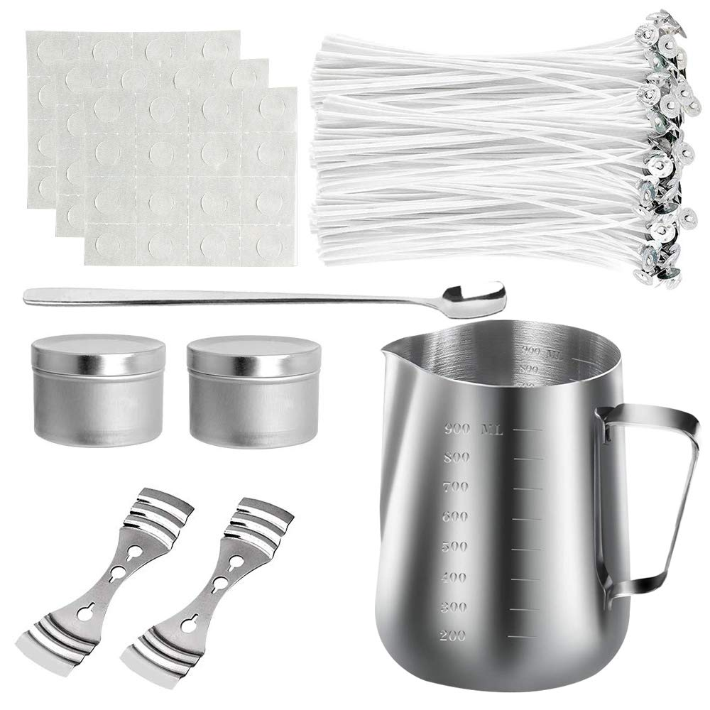 2 Pcs Candle Tins and 1 Pcs Spoon DIY Set 1 Pcs Candle Pouring Pot 2 Pcs Candle Wicks Holder Candle Making Kit 50 Pcs Candle Wicks Sticker Wax Wick Set 50 Pcs Candle Wicks