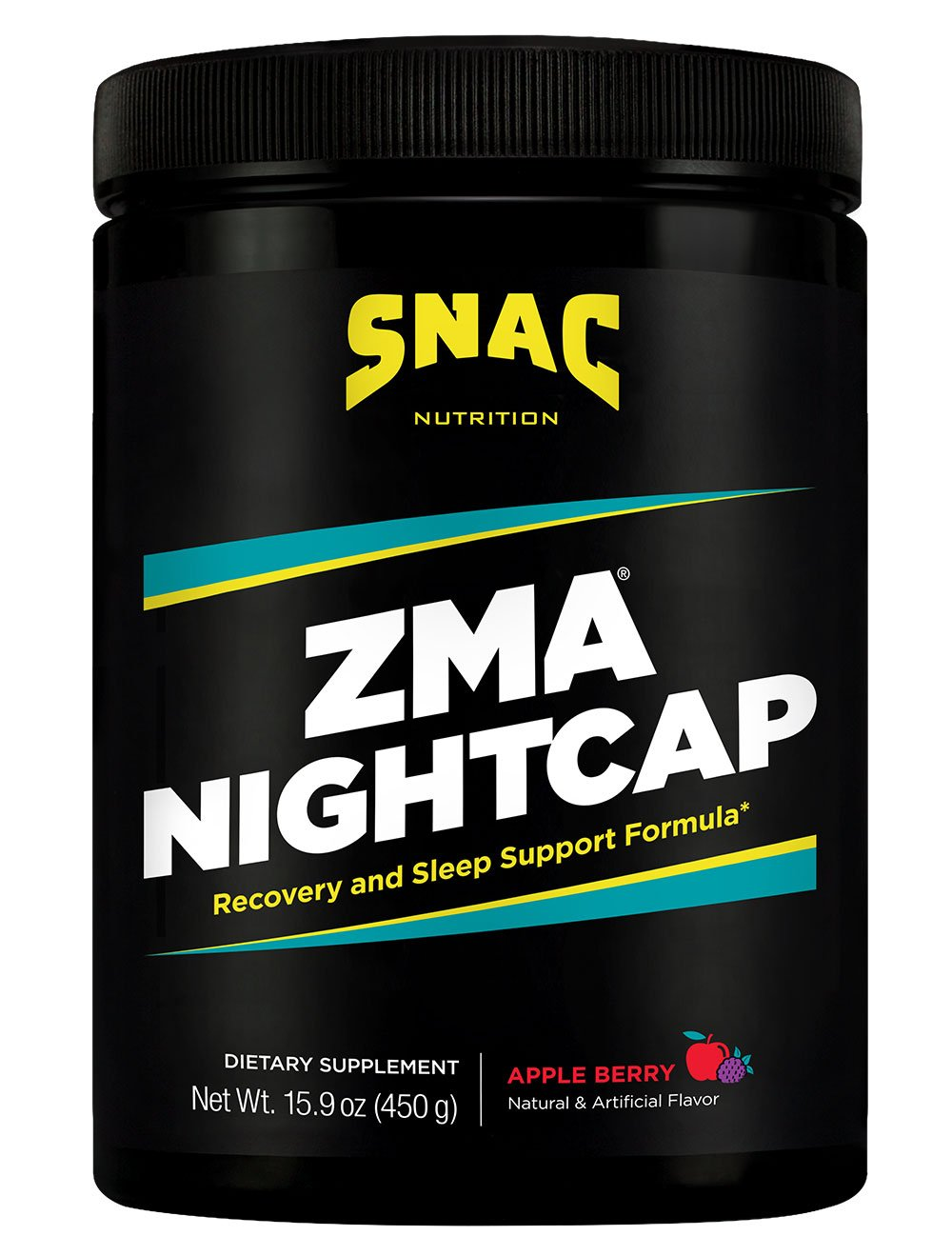 SNAC ZMA Nightcap Rapid Recovery Sleep Enhancer Drink Mix, Apple Berry, 450 Grams (15.9 Ounce)