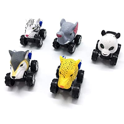 PAWACA Pull Back Jungle Animals Cars, 5 Pcs Cute Realistic Animal Car Toy with Big Tire Wheel, Monster Vehicle Playset Party Favors Creative Birthday Gifts for Kids Children: Home & Kitchen