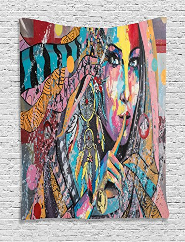 Modern Art Tapestry by Ambesonne, Sexy Girl with Tribal Dreamcatcher and Ethnic Murky Oriental Bohemian Paint, Wall Hanging for Bedroom Living Room Dorm, 60 W X 80 L Inches, - Girls Dorm Sexy