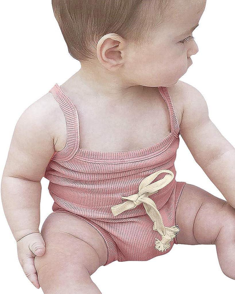 YEBIRAL Ropa Bebé Niña Verano Bebé Mono Sin Mangas con cordón ...
