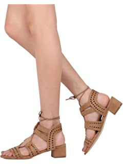 324b0555619 Nature Breeze Women Faux Suede Open Toe Perforated Lace Up Low Chunky Heel  Sandal GG76