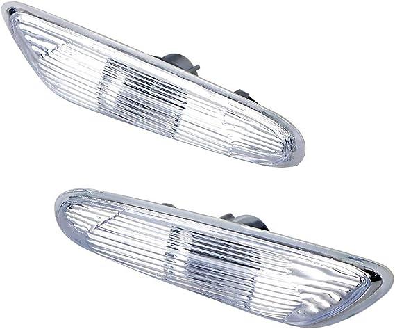 Gempro 2Pcs Clear Lens Amber LED Side Marker Light Turn Signal Lamp For BMW 1 3 5 Series E81 E82 E87 E88 E90 E91 E92 E93 E60 E61