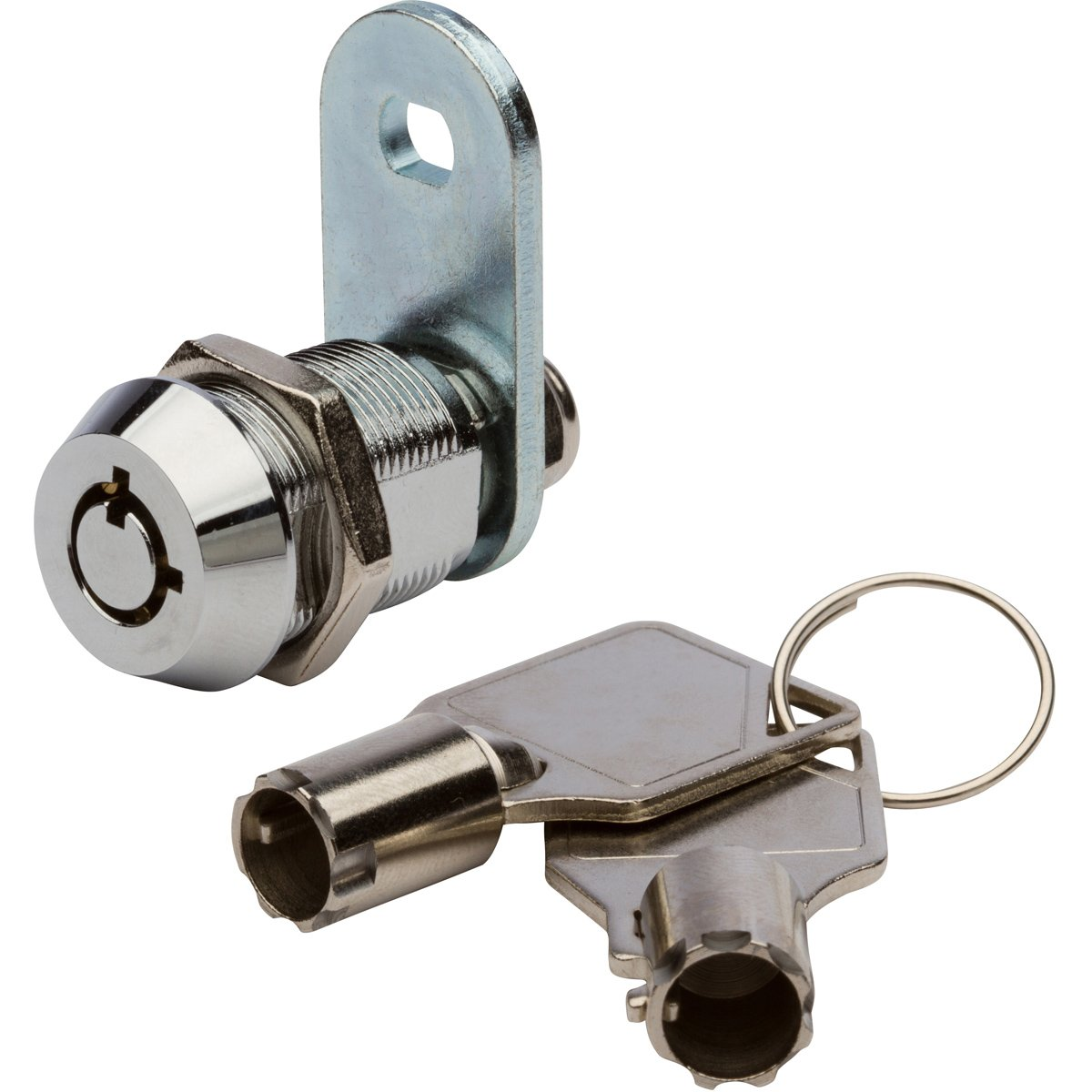 Tubular Cam Lock with 7/8'' Cylinder and Chrome Finish, Keyed Alike with 2 Keys, 1 1/4'' Cam and Offset Cam