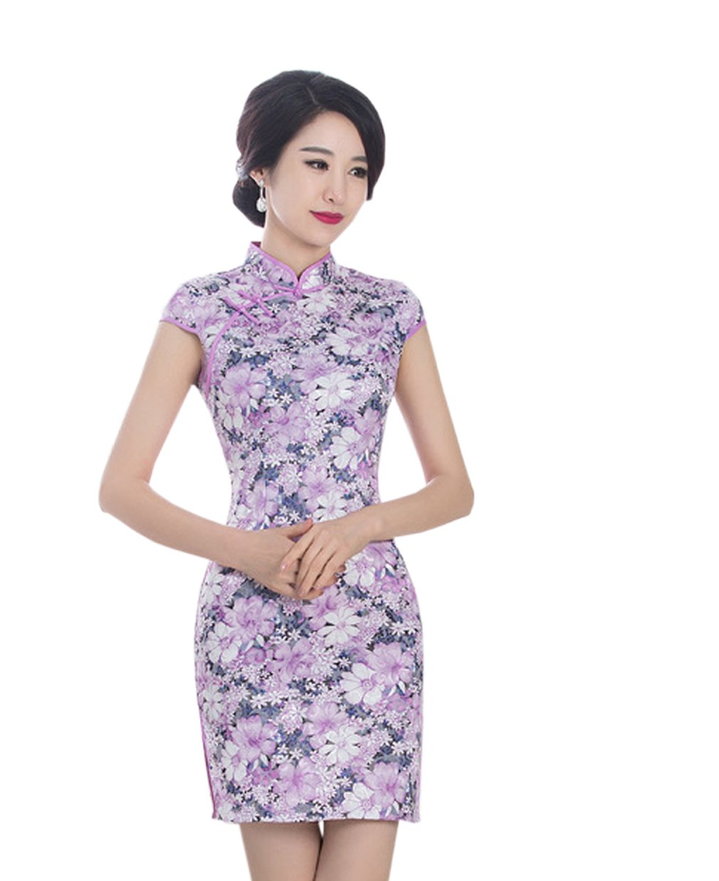 YueLian Womens Cotton Chinese Party Short Cheongsam Qipao Dresses Summer (China S= US 2, light purple)