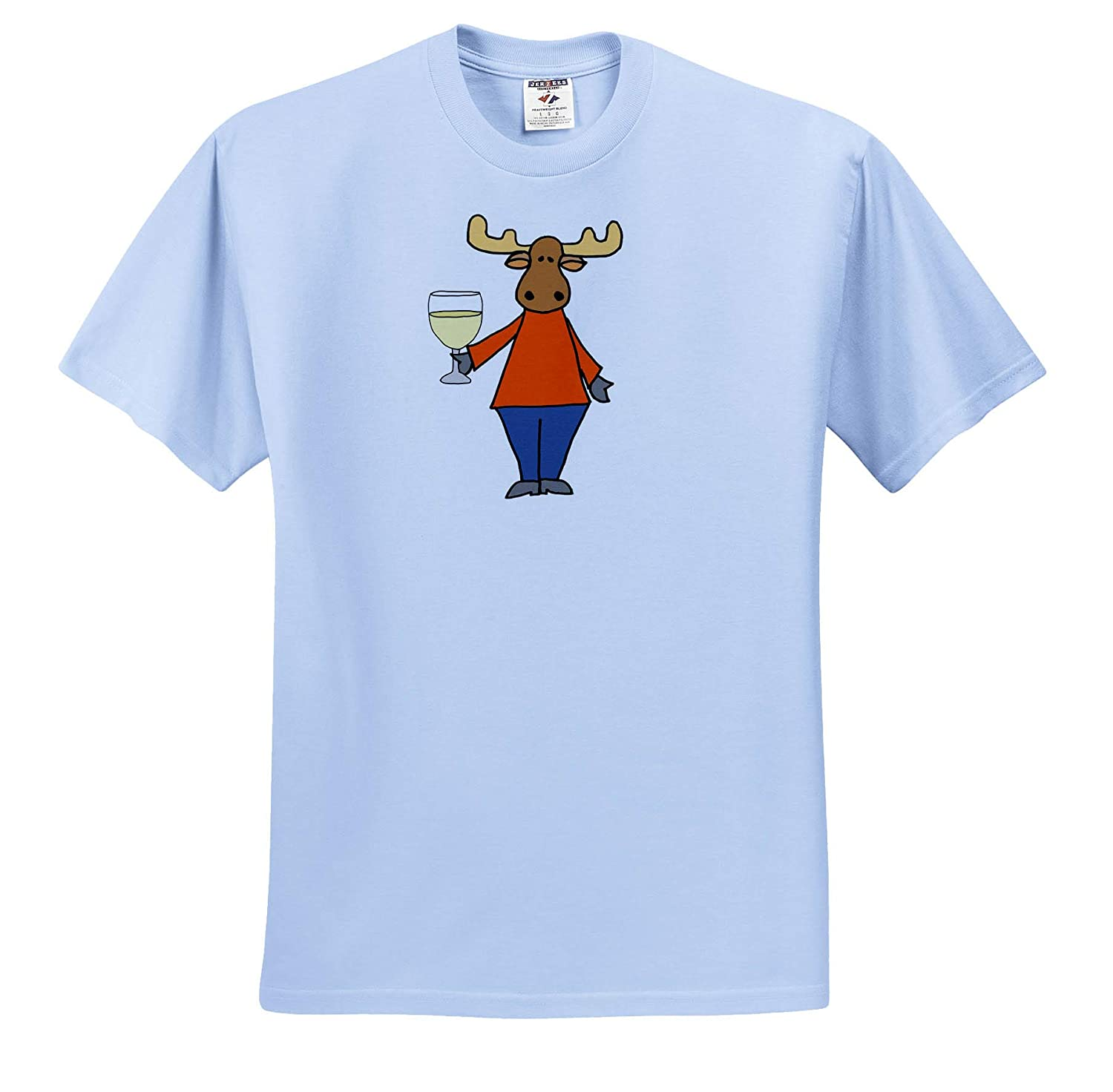 Animals 3dRose All Smiles Art T-Shirts Cute Funny Moose Drinking Wine Cartoon