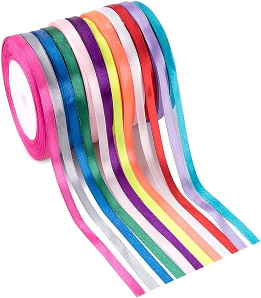 Amazon Com Cintas De Satén Feelava 12 Rollos Cinta De Tela De Varios Colores Sólidos Y Brillantes Seda Para Envolver Paquete De Regalo Arte De Diy Manualidades Lazo De Pelo Ropa Costura Decoración