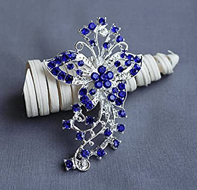 Rhinestone Brooch Component Crystal Butterfly Dark Royal Blue Flower Hair Comb Shoe Clip Pin Wedding Cake Decoration BR154