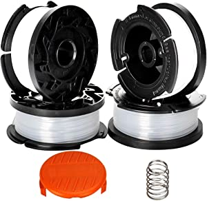 """Catwalk 4 Pack Line String Trimmer Replacement Spool with Trimmer Cap and Spring 30ft 0.065"""" Autofeed for Black and Decker String Trimmer"""