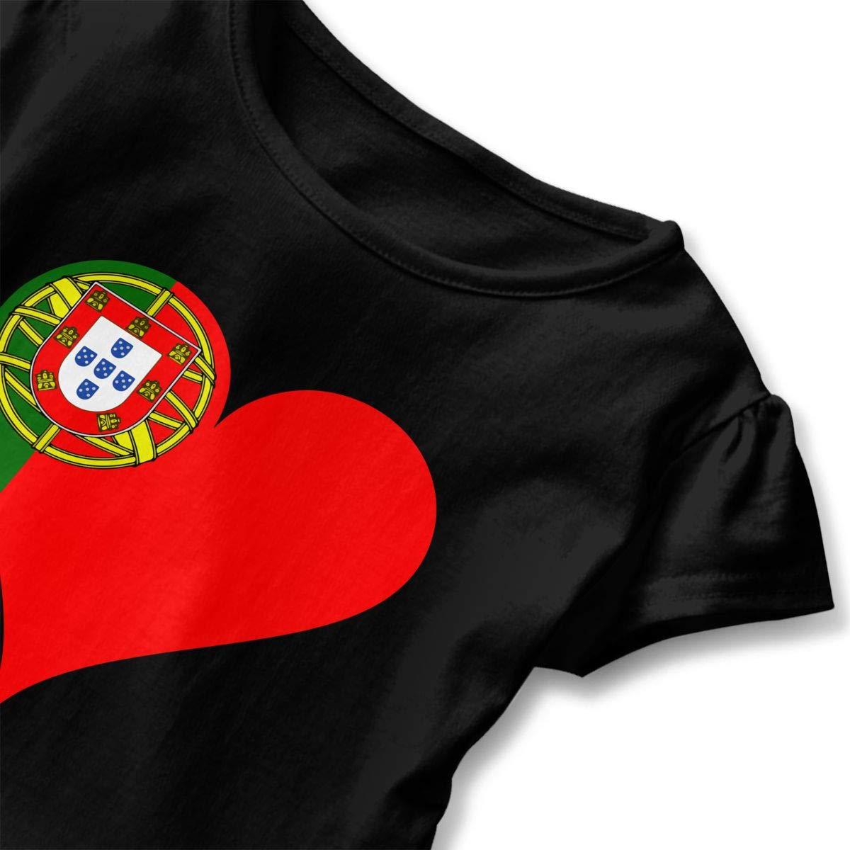 Heart Portugal Flag Kids Girls Short Sleeve T-Shirts Ruffles Shirt Tee for 2-6T