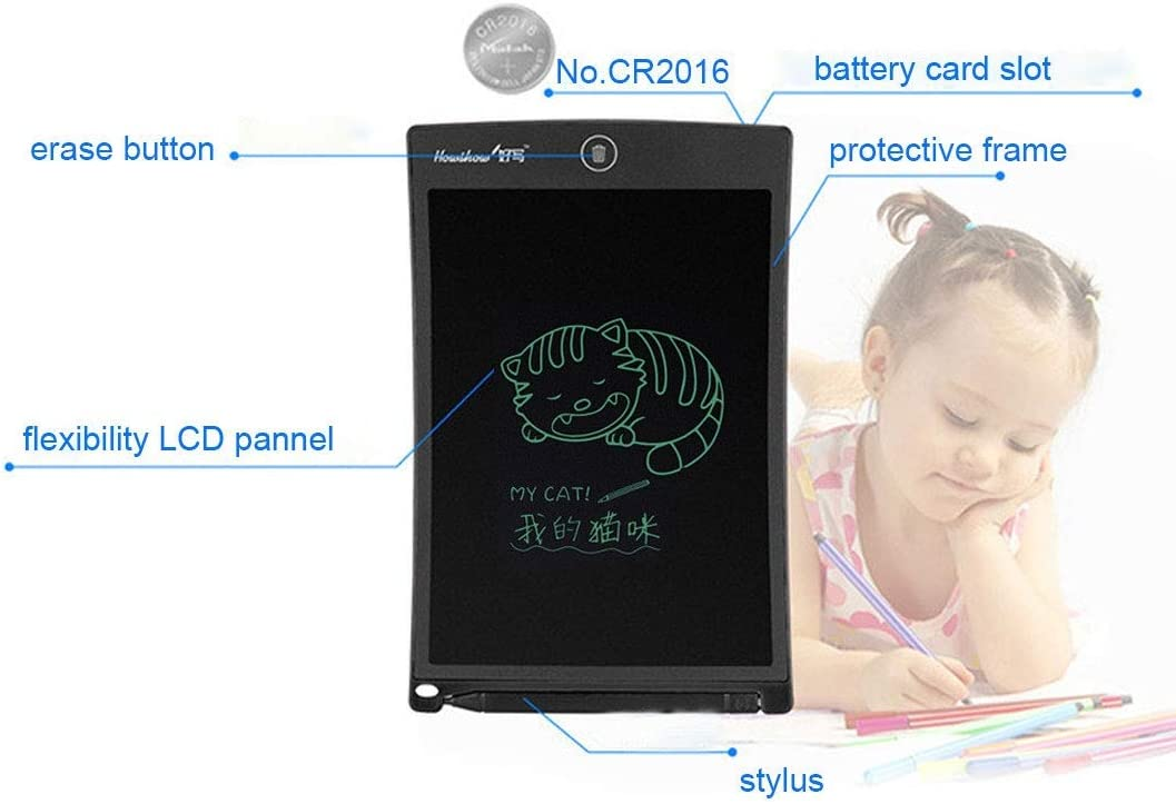 Color : Black Black Electronics Accessories Howshow 8.5 inch LCD Pressure Sensing E-Note Paperless Writing Tablet//Writing Board