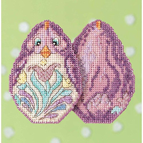 Purple Chick - Purple Chick Beaded Counted Cross Stitch Easter Ornament Kit Mill Hill 2017 Jim Shore JS181716