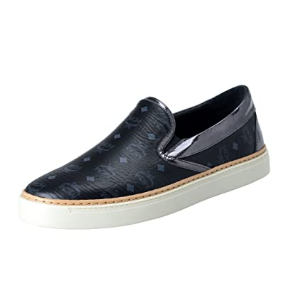 MCM Mens Visetos Black Leather Moccasins Slip On Shoes US 9 IT ...