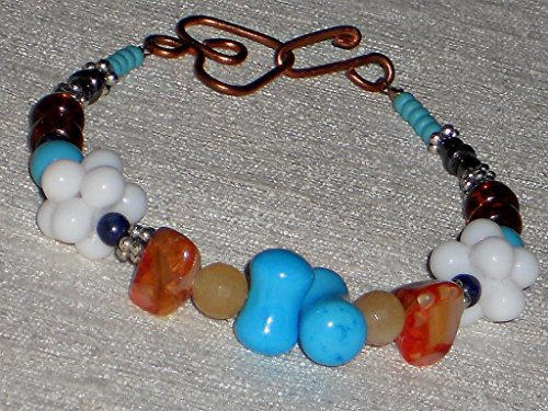 Interlocking Bead Multi Color Stone And Glass Bracelet With Copper Clasp