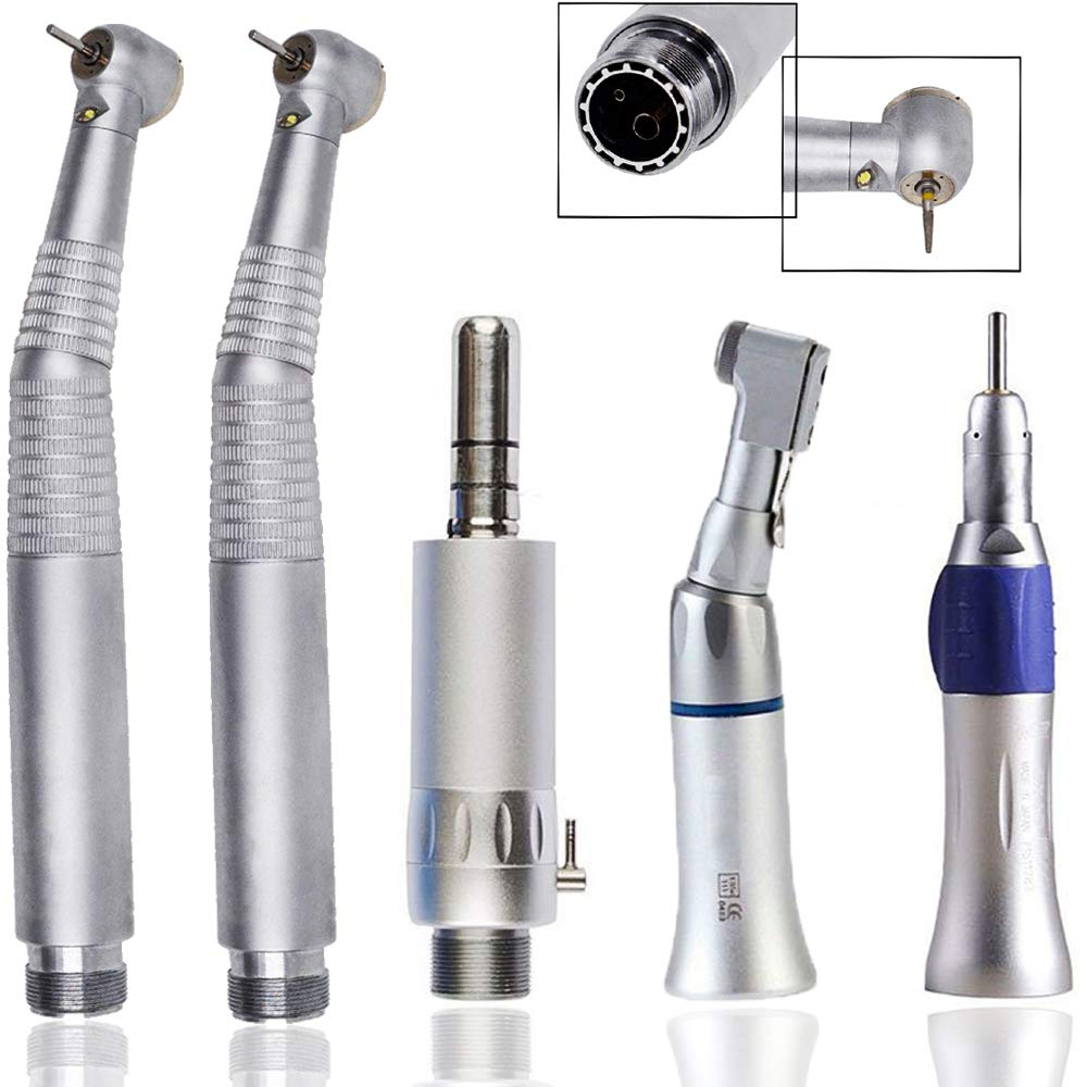 High Low Speed Hand Tools with LED Light 2Holes, Teeth Grinding Kit Air Motor Straight Kit Contra Angle