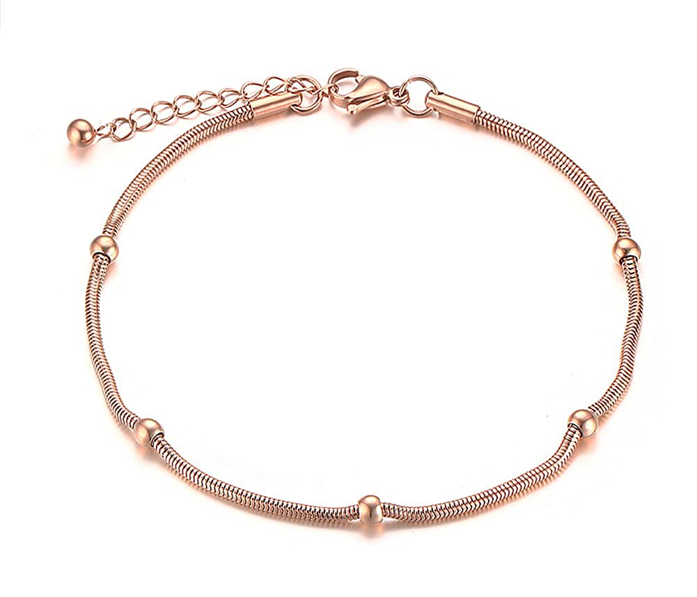 Womens Stainless Steel IP Rose Gold Thin Bead Ball Anklets with Extension Chain VNOX Jewelry JC-012