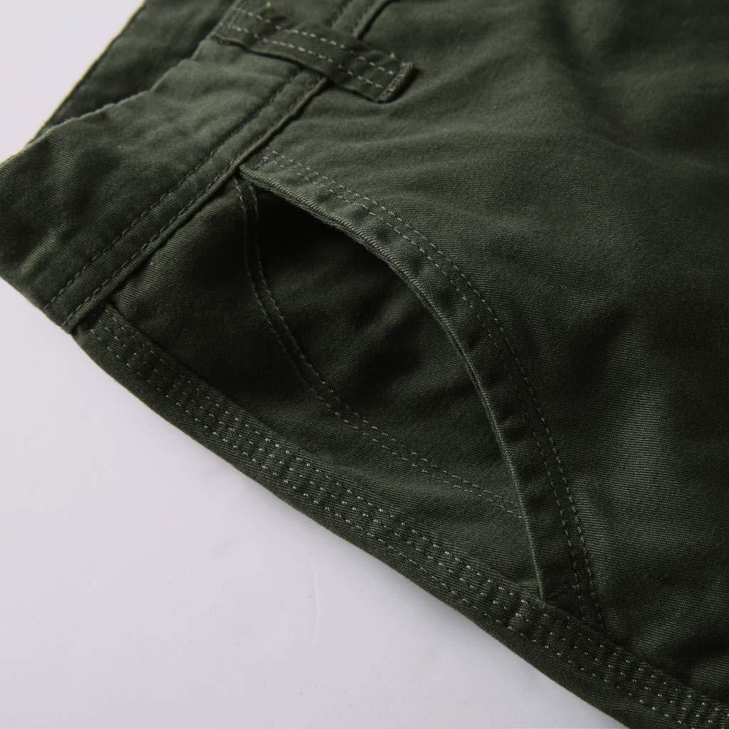 LEERYAAY Cargo&Chinos Men's Summer Outdoors Casual Loose Multiple-Pockets Cotton Overalls Beach Shorts ArmyGreen by LEERYAAY (Image #6)