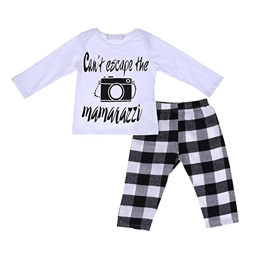 5705e716a Image Unavailable. Image not available for. Color: chinatera Baby Boys Girls  Winter Clothes Printed Top+White-Black Plaid Pants Outfits