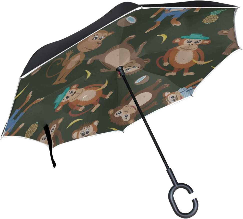 Double Layer Inverted Inverted Umbrella Is Light And Sturdy Smiling Monkey Texture Flat Reverse Umbrella And Windproof Umbrella Edge Night Reflection