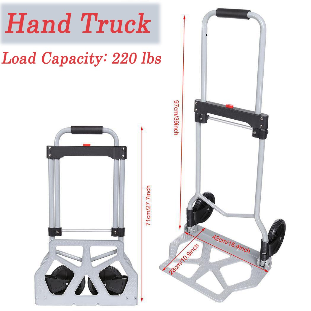 Folding Hand Truck, Aluminum Portable Foldable Rolling Luggage Dolly Trolley Cart for Shopping Industrial, 220 lbs Capacity