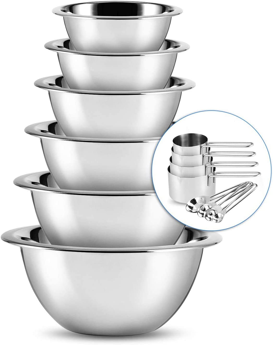 Stainless Steel Mixing Bowls - Mixing Bowl Set of 6 - Mixing Bowl Sets For Kitchen - SleekDine Kitchen Nesting Bowls Set With Measuring Cups And Spoons - Great For Cooking, Baking or Salad Prep