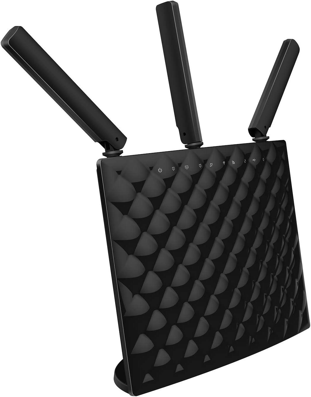 Tenda AC1900 AC15-Router Inalámbrico de Doble Banda (4 Gigabit Puertos, 1300Mbps a 5GHz, 600Mbps a 2.4GHz, 3 Antenas externas, USB3.0, Tecnología de formación de haces, Servidor VPN, WPS, DDNS)