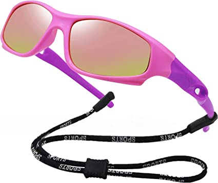 Kids Flexible Polarized UV Protection Sunglasses for Boys Girls Age 2-7 with Strap