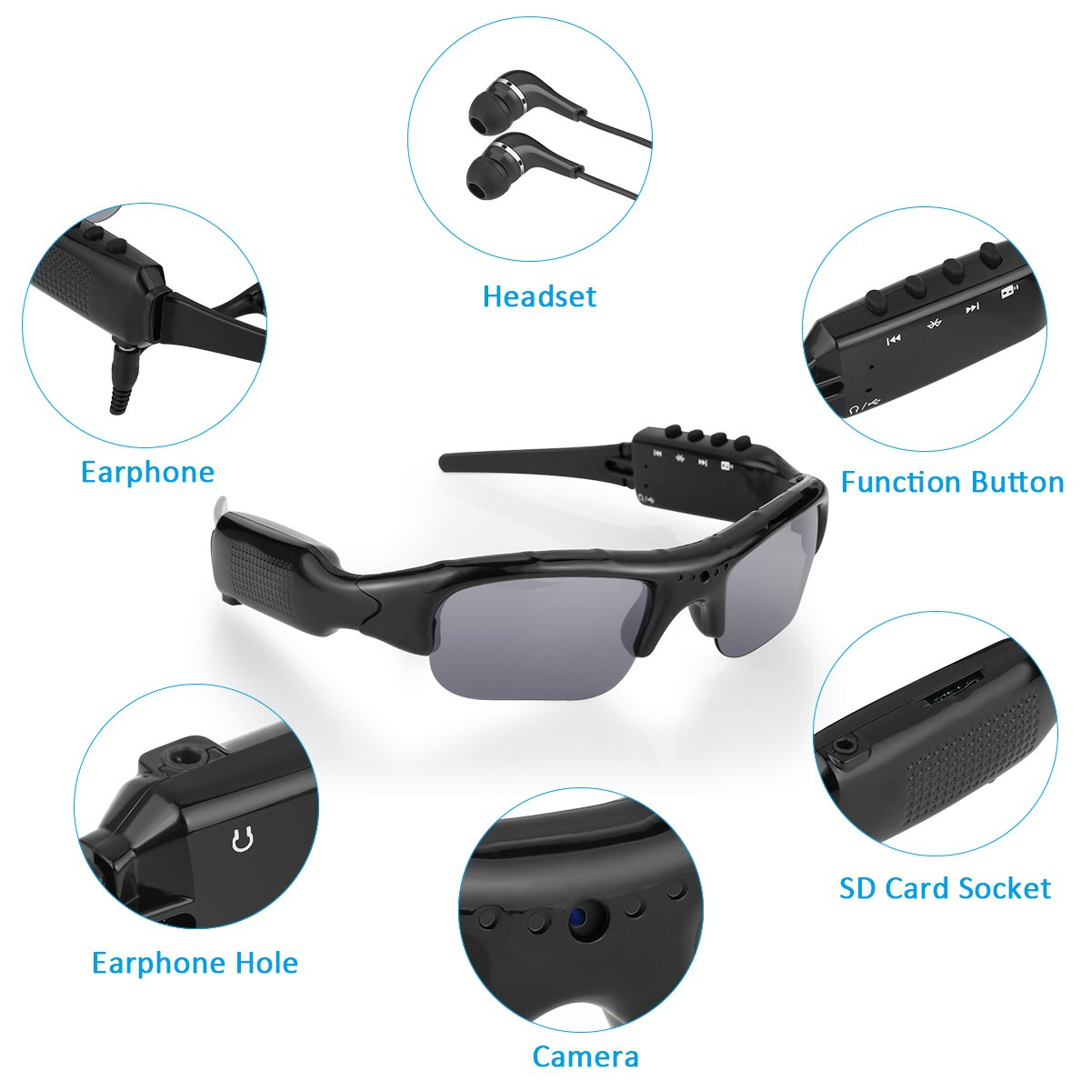 5384bbf0e2 Diggro DG01 Video Glasses Sports Camcorder Polarized Lens Support 1080P HD  MP3 32GB Micro SD Card Sports Sunglasses Goggle  Amazon.co.uk  Sports    Outdoors