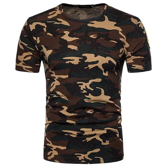 b11a93e0ba36 Herren T-Shirt Top, Dasongff 2018 Mode Herren Camouflage T-Shirt Drucken  Blusen Rundhals Kurzarmshirt Slim Sportlich Hemd Casual Tarnung Pullover  (2XL, ...