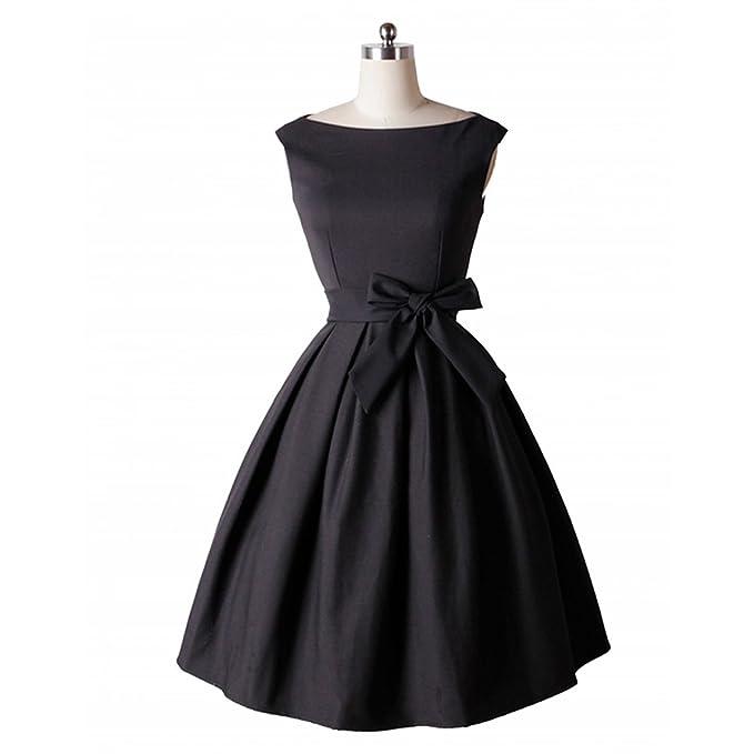 WoooInn S-3XL Vintage Sashes Bow Ball Gown Women Slash Neck Collar Sleeveless Elegant Slim Tunic Dress Vestidos at Amazon Womens Clothing store: