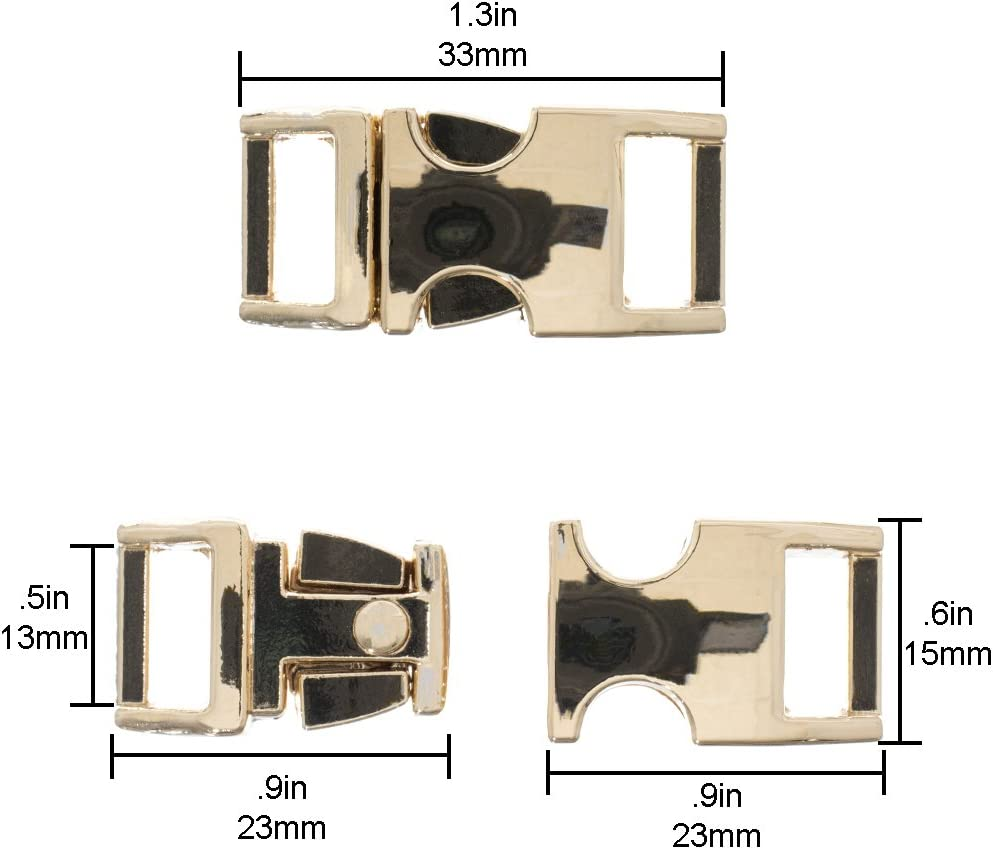 1//2-inch Gold, 2 Pack West Coast Paracord Metal Alloy Buckles Durable and Strong Construction