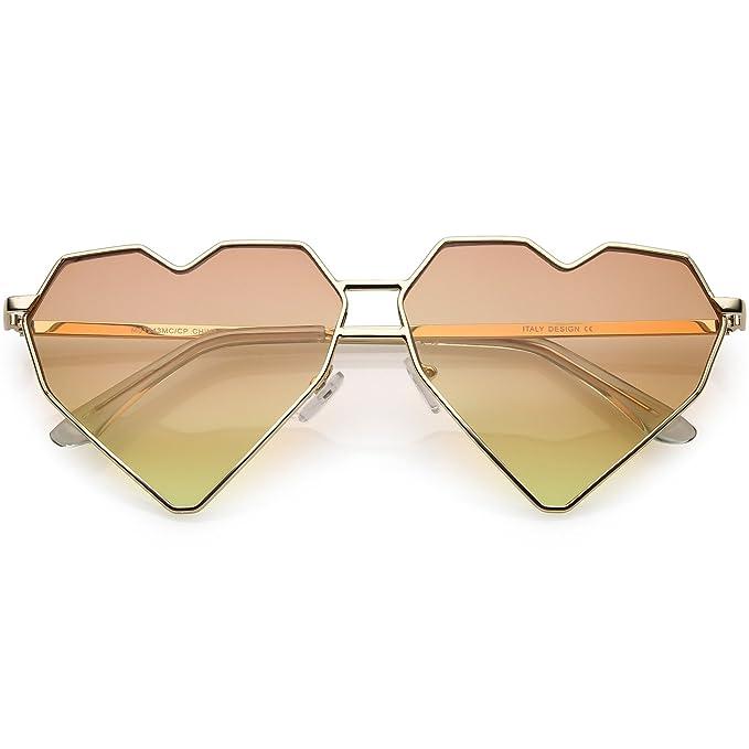 5b81133df9 sunglassLA - Oversize Geometric Heart Sunglasses Double Nose Bridge Color  Tinted Flat Lens 62mm (Gold