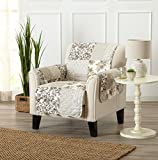 Great Bay Home Patchwork Scalloped Stain Resistant Printed Furniture Protector. By Brand. (Chair, Taupe)