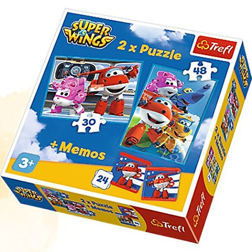 Trefl Superwings Puzzle 2 en 1 avec Jeu DE 24 Mémos-Super Wings, 90635