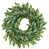 """Fargal 16"""" Door Wreath (Artificial) Real Wicker Frame, Faux Olive Leaves 