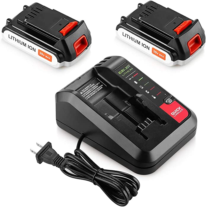 Energup 2 Pack LBXR20 Battery 2.5Ah Replace for Black and Decker 20V MAX Lithium Battery + 20V Charger for Black Decker 20V MAX Lithium Battery 20V PCC692L Charger for Porter Cable 20V Battery