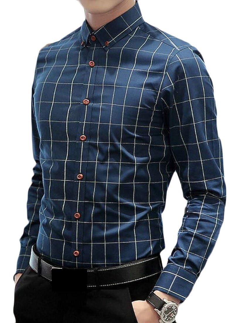 Zantt Mens Slim Fit Formal Office No-Iron Plaid Spread Collar Dress Shirts