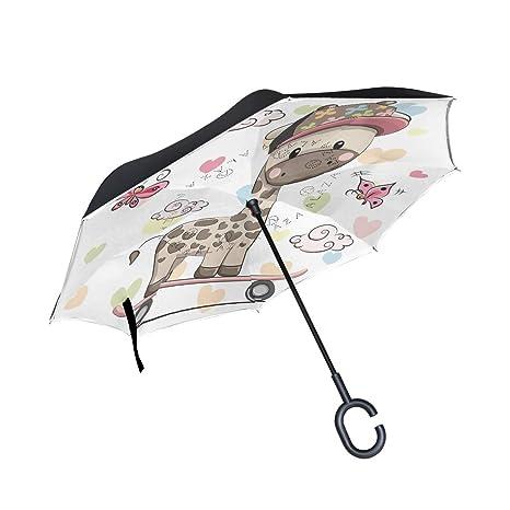 80ed315ba280 Amazon.com : Love Skate Giraffe Inverted Umbrella for Car Travel ...