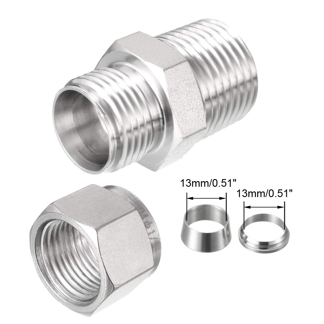 uxcell Stainless Steel Compression Tube Fitting 1//2-inch NPT Male x Ф1//2-inch Tube OD