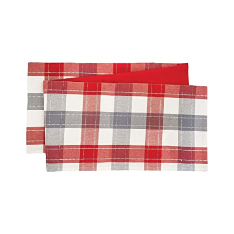 Amazoncom Cf Home Nordic Plaid Table Runner 13x72 Inches Red