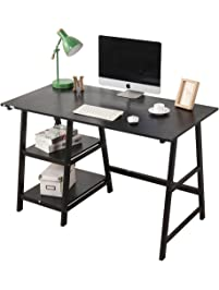 Soges Computer Desk Trestle Desk Writing Home Office Desk Hutch Workstation  With Opening Shelf, Black