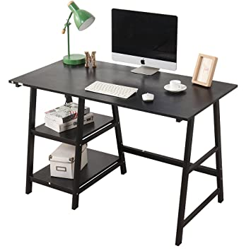 Elegant Soges Computer Desk Trestle Desk Writing Home Office Desk Hutch Workstation  With Opening Shelf, Black
