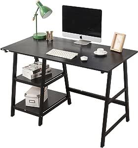 DlandHome Escritorio de Madera de 120 * 60 cm con estantes Mesa de ...