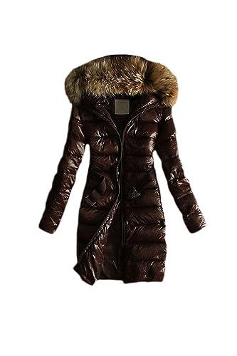 La Mujer Casual Con Capucha Forrada Invierno Cálido MIDI Espesar Parkas Faux Fur Outerwear