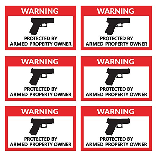 Protected By Armed Property Owner   6 Pack   4 X 2 5 Inches   Warning Alert Stickers   Indoor   Outdoor Use