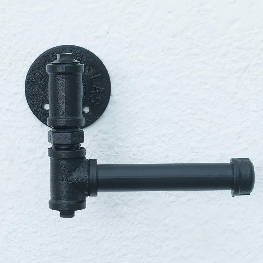 Soporte de papel higiénico de tubería industrial rústico de Pipe Decor | Estilo DIY de alta resistencia, kit montado en la pared, acabado en hierro ...