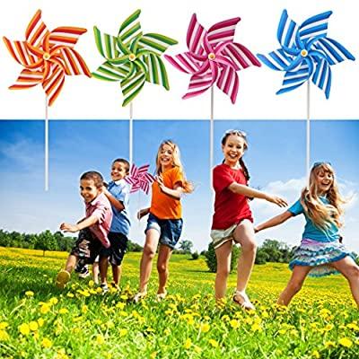 SimpleLif Multicoloured Striped Garden Windmill Spinner Home Garden Yard Decoration Kids Children Toys,Random Color: Home & Kitchen